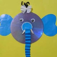 Recycle your old CD's to make a fun elephant face. Easy for toddlers.