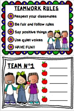 Teamwork is really important in our classrooms. So here´s a poster to remind students about the rules, and 6 Team Cards so you can assign the groups. If laminated, the groups may be vary as many times as needed along the year. Classroom Discipline, Classroom Behavior, Kindergarten Classroom, Classroom Procedures, Classroom Organization, Classroom Ideas, Effective Classroom Management, Elementary Pe, Responsive Classroom