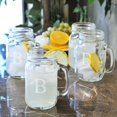 Monogram Old Fashioned Drinking Jars (Set of 4)