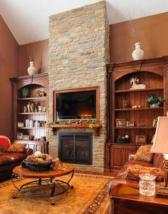 Custom fireplace bookcase surround by Schaad Sons Fireplace Bookshelves, Decorating Bookshelves, Fireplace Wall, Fireplace Design, Fireplace Mantels, Fireplace Ideas, Mantle Ideas, Fireplace Pictures, Custom Fireplace