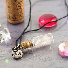 Potion bottle necklace - Rose quartz necklace - Love potion - Wish bottle necklace - Healing crystal jewelry - Glass bottle necklace