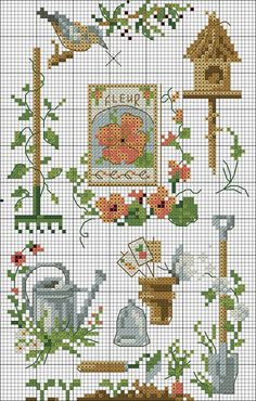 Garden cross stitch watering can bird house spade Cross Stitch Boards, Simple Cross Stitch, Cross Stitch Flowers, Cross Stitching, Cross Stitch Embroidery, Embroidery Patterns, Hand Embroidery, Cross Stitch Designs, Cross Stitch Patterns