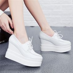 Creepers Elastic Band Ankle Strap Platform Extreme High Spring Autumn 2015 Wedges Nurse Shoes For Women Heels Round Toe