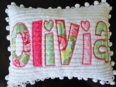 personalized pillow - love the chenille cute!!