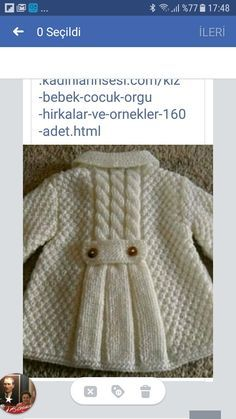 orgulerim Turkrazzi Cute – For the love of knitting … – Babykleidung Shrug Knitting Pattern, Lace Knitting Patterns, Coat Patterns, Knitting Designs, Baby Patterns, Free Knitting, Baby Knitting, Crochet Baby, Knitted Baby Cardigan