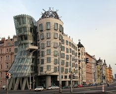 Real. The Dancing House in Prague. The building's two main structures resemble a pair of dancers, hence its nickname – but it's also known as 'Drunk House'.
