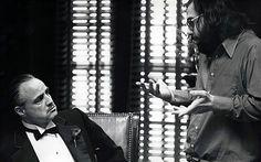 The Godfather set - Marlon Brando & Francis Ford Coppola