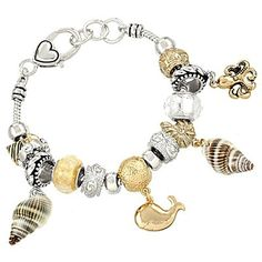 Chunky Imitation Sea Shells Dolphin Octopus Anchor Murano Glass Charm Bracelet, 7.5 .5' Extender *** Be sure to check out this awesome product.