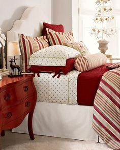 Red, green and white Pottery Barn bedding for Christmas | Friday Christmas…