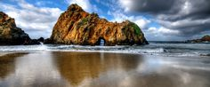 Pfeiffer Beach State Park, CA -- This Big Sur beach is known for its purple sand, stunning stone arches and crashing waves. -- PureWow -- -- The Most Beautiful Spot in Every U. Beverly Hills, Big Sur Beach, Sand Beach, Places To Travel, Places To See, Travel Destinations, Big Sur California, California Coast, California Living