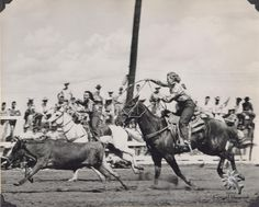 Cowgirl Hall of Fame Honorees, Blanche Altizer Smith and Betty Dusek competing in the 1947 Tri-State All Girl Rodeo. Permanent Collection of the National Cowgirl Museum and Hall of Fame