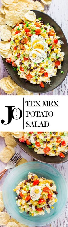 Tex Mex Potato Salad - a classic potato salad gone wild. This is what happens when you take your favorite potato salad and add things to it like chipotle peppers, corn and black beans.