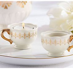 Classic Gold Teacups Tealight Holder (Set of porcelain and a glistening golden glow come together in these tealightful little favors. Place these Classic Gold Teacups Tealight Holders on guest tables at your elegant bridal shower or wedding Vintage Wedding Favors, Elegant Wedding Favors, Candle Wedding Favors, Candle Favors, Bridal Shower Favors, Wedding Ideas, Gold Wedding, Wedding Stuff, Wedding Decorations
