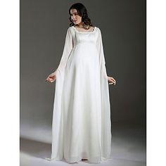 Lanting Sheath/Column Maternity Wedding Dress - Ivory Floor-length Square Chiffon/Satin – USD $ 89.99