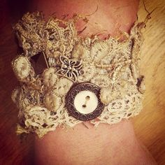 OOAK Vintage Fabrics Cuff Bracelet with by TheOldForestCottage, $55.00