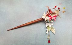 Origami Hair Stick Red & White Flowers Butterflies, Kimono Paper Hair Accessory, Origami Jewelry, Asian Japanese Hair Stick made to order