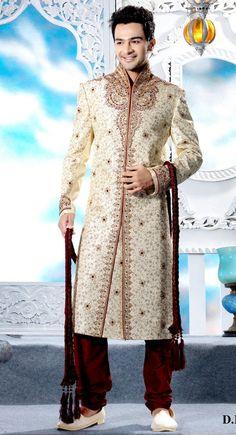 Stylish Cream Brocade Embroidered Designer #Sherwani$247.00