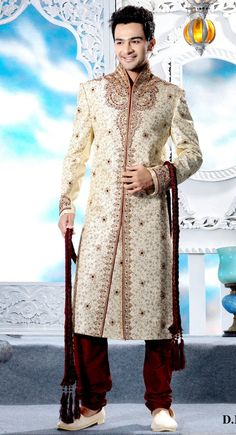 Stylish Cream Brocade Embroidered Designer #Sherwani$247.00