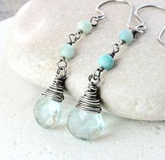 Multi Gemstone Earrings Oxidized Silver March by Hildes on Etsy