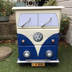 Blue VW Camper Van Style Chest of Drawers Bedside Table Working lights Volkswagenin Poole, DorsetGumtree Vintage Retro style Solid Pine chest of drawers. Hand painted, sealed and varnished. Battery operated head lights (batteries included). Made to look like a vintage retro VW Campervan. Each drawer is lined with retro camper van paper. Measures approx....