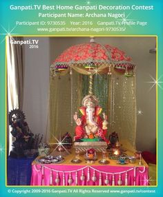 Archana Nagori Home Ganpati Picture 2016. View more pictures and videos of Ganpati Decoration at www.ganpati.tv