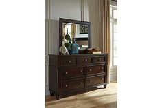 Dark Brown Roddinton Dresser and Mirror View 1