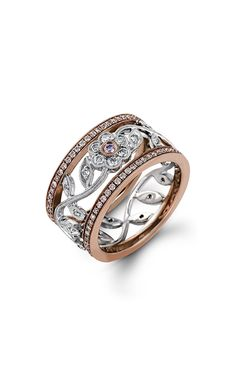 Simon G. Floral Diamond Band featuring a vintage floral design, this exquisite white and rose gold band is accented by ctw round cut white diamonds and ctw round cut pink diamonds. Diamond Bands, Diamond Jewelry, Sapphire Diamond, Fashion Rings, Fashion Jewelry, Gold Fashion, Or Rose, Rose Gold, Premier Jewelry