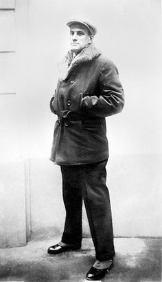 """I only speak Triolet.""  Mayakovsky outside the Soviet Embassy in Paris, 1925"