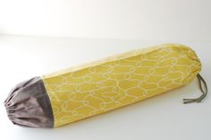 Fabric Plastic Bag Holder / Grocery Bag Holder / Myer Yellow and Gray by SUZUYA