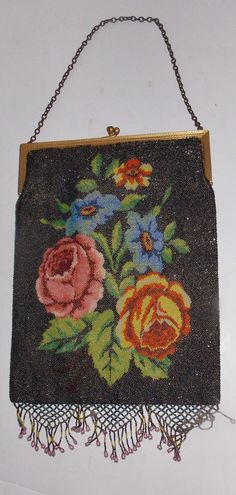 Massive Antique Victorian Micro Beaded Purse Rose motif gold plated frame FINEST #BeadedPurse