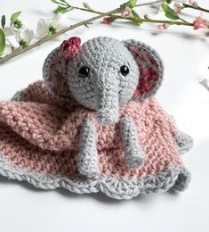 Ellie the Elephant Lovey- Free Pattern - A Purpose and A Stitch Crochet Lovey, Baby Blanket Crochet, Crochet Dolls, Free Crochet, Lovey Blanket, Elephant Applique, Cat Applique, Elephant Baby, Yarn Projects