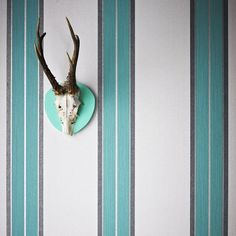 Harlow Teal Striped Wallpaper - Blue Stripes Wall Coverings by Graham  Brown