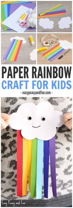 Happy cloud is here to play! This sweet cloud and paper rainbow craft for kids is a great spring project! Happy cloud is here to play! This sweet cloud and paper rainbow craft for kids is a great spring project! Quick Crafts, Easy Crafts For Kids, Craft Activities For Kids, Preschool Art, Diy For Kids, Rainbow Crafts Preschool, Children Crafts, Spring Craft For Toddlers, Spring Craft Preschool