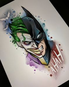 ▷ 1001 + ideas for cool things to draw – photos and tutorials batman and joker, split art, watercolour painting, cool things to draw, white background Joker Drawings, Art Drawings Sketches, Tattoo Sketches, Easy Drawings, Tattoo Drawings, Drawing Art, Joker Art, Joker Clown, Batman Wallpaper