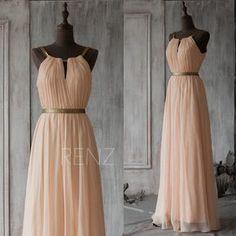 2015 Long Bridesmaid Dress Blush,Peach Prom Dress,Chiffon Wedding Dress,Formal Dress,Mix And Match Party Dress Floor Length(F066A1)-Renzrags