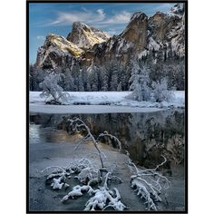 Winter snow covers Cathedral Rocks above the Merced Rivera, Yosemite National Park, California | by Tony Immoos, via Flickr