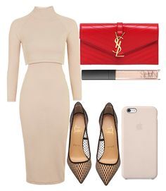 """Untitled #2424"" by dreamfashion4ever ❤ liked on Polyvore featuring Topshop, Christian Louboutin, Yves Saint Laurent, NARS Cosmetics and Black Apple"