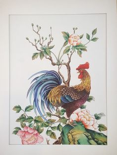 The Beauty of Japanese Embroidery - Embroidery Patterns Chinese Painting Flowers, Lotus Painting, Rooster Painting, Rooster Art, Art And Illustration, Asian Artwork, Korean Painting, Country Quilts, Chicken Art