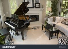 Good Stock Photo Luxury House Interior With Open Floor Plan Dining Area And Living  Room With Grand · Baby Grand PianosElegant ...