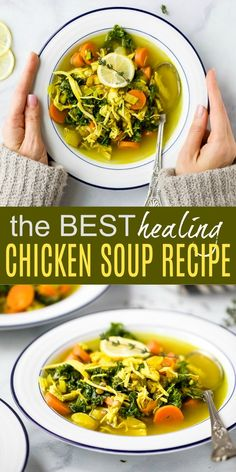 Healing Homemade Chicken Soup The Best Healing Chicken Soup Recipe guaranteed to boost your immune system! This chicken soup is filled with veggies, turmeric, herbs, chicken and lentils. Perfect for flu system or to fight off that cold! Chicken Soup For Flu, Healing Chicken Soup Recipe, Healing Soup, Homemade Chicken Soup, Vegetable Soup With Chicken, Chicken Soup Recipes, Healthy Soup Recipes, Chicken And Vegetables, Recipe Chicken