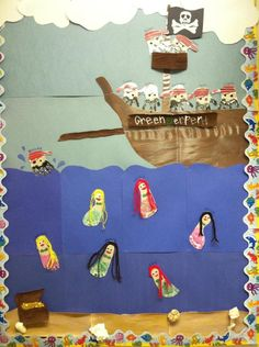 pirate hands and mermaid feet! for bulletin board. Pirate Bulletin Boards, Classroom Bulletin Boards, Classroom Themes, Preschool Projects, Projects For Kids, Crafts For Kids, Autumn Activities, Art Activities, September Holidays