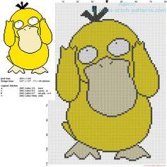 Psyduck Pokemon first generation number 054 free cross stitch pattern download