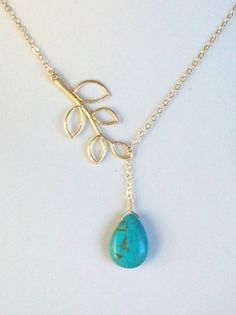Leaves with turquoise Lariat Necklace