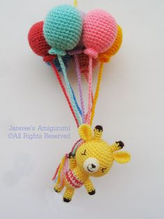 Giraffe and balloons - PDF Crochet Pattern #amigurumi