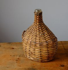 French Antique Wine Bottle and Wicker Basket by Metoox on Etsy Antique Items, Vintage Items, Bottom Of The Bottle, Golden Color, Hand Blown Glass, French Antiques, Life Is Good, Wine Glass, Wicker
