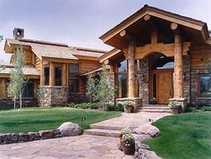 So cool! Gorgeous log & stone home. THIS!