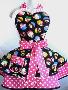 Rainbow Cupcake Apron with Pink Polka Dots by sjcnace4 on Etsy, $55.00