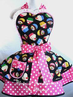 Rainbow Cupcake Apron with Pink Polka Dots by sjcnace4 on Etsy, $55.00