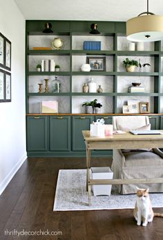 Wall of office built in bookcases REVEAL! : Wall of office built in bookcases REVEAL! from Thrifty Decor Chick Bookshelves Built In, Built In Desk, Built In Cabinets, Bookcases, Bookshelf Design, Office Wall Cabinets, Office Wall Shelves, Bookcase Wall, Office Walls