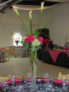 hot pink roses and white hydrangeas and callas Flowergirls Weddings 58th & Lewis Tulsa, Ok 918-949-1553 www.flowergirlsoftulsa.com